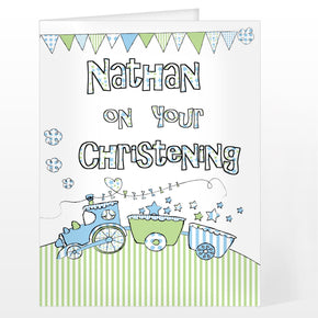 Personalised Whimsical Train Card