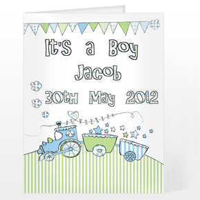 Personalised Whimsical Train Its a Boy Card