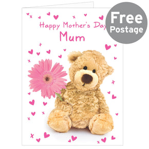 Personalised Teddy Flower Card