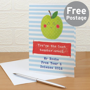 Personalised Apple for the Teacher Card