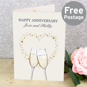Personalised Gold Champagne Flutes Card