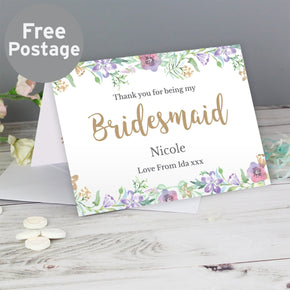 Personalised Bridesmaid 'Floral Watercolour Wedding' Card