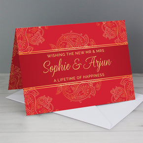 Personalised Paisley Wedding Card