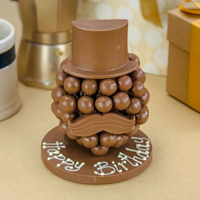 Personalised Malteser Chocolate Head with Hat and Moustache