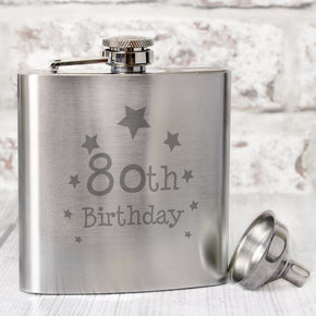 80th Birthday Hip Flask