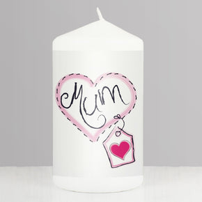 Mum Heart Stitch Candle