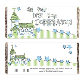 Blue On Your Communion Church Milk Chocolate Bar