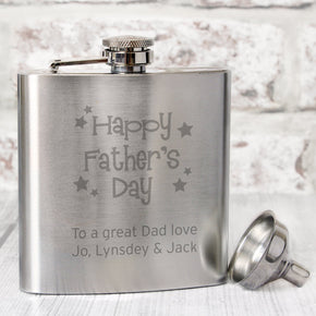 Personalised Stainless Steel Happy Father's Day Stars Hip Flask