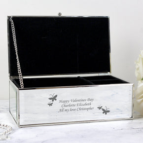 Personalised Butterflies Mirrored Jewellery Box
