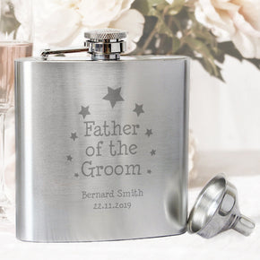 Personalised Stars Father of Groom Hip Flask