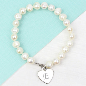 Personalised White Freshwater Scripted Initial Pearl Bracelet