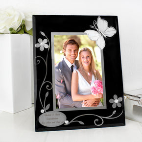 Personalised Black Butterfly 4x6 Photo Frame