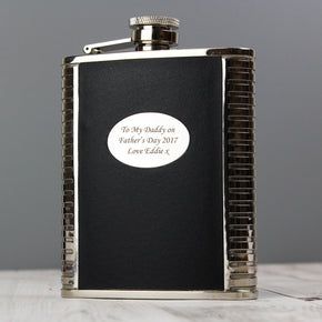 Personalised Steel and Black Leather Hip Flask