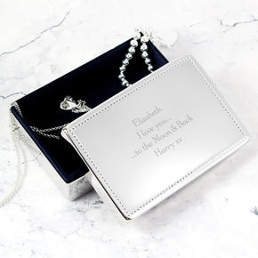 Personalised Any Message Rectangular Jewellery Box