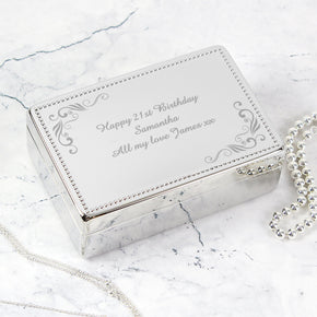 Personalised Swirl Rectangular Jewellery Box