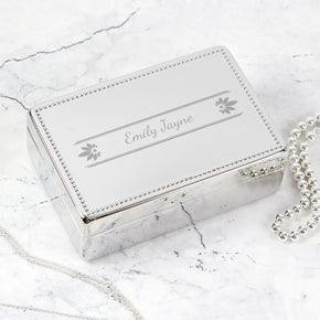 Personalised Petals Rectangular Jewellery Box