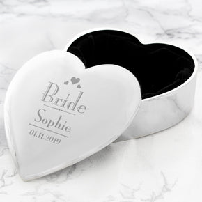 Personalised Decorative Wedding Bride Heart Trinket Box