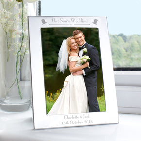 Personalised Silver 5x7 Decorative Our Sons Wedding Photo Frame