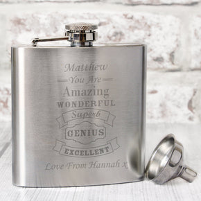 Personalised Vintage Typography Hip Flask