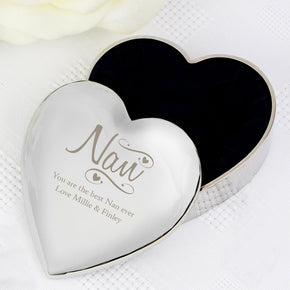 Personalised Nan Swirls & Hearts Trinket Box
