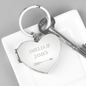 Personalised Arrow Heart Photo Frame Keyring