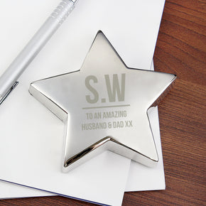 Personalised Initials Star Paperweight