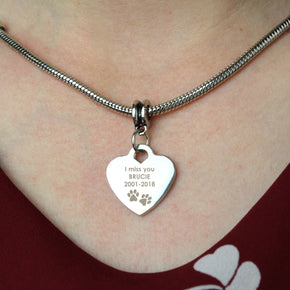 Personalised Pawprints Heart Charm Necklace