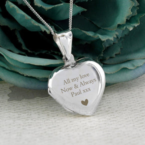 Personalised Sterling Silver Heart Message Locket