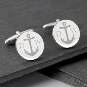Personalised Anchor Round Cufflinks