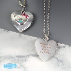 Personalised Message 'Me To You' Sterling Silver Heart Locket