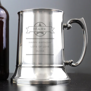 Personalised Diamond Stainless Steel Tankard
