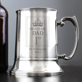 Personalised 1st Class Stainless Steel Tankard