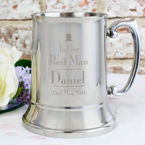 Personalised Decorative Wedding Best Man Stainless Steel Tankard