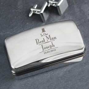Personalised Decorative Wedding Best Man Cufflink Box