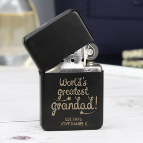 Personalised 'World's Greatest Grandad' Black Lighter