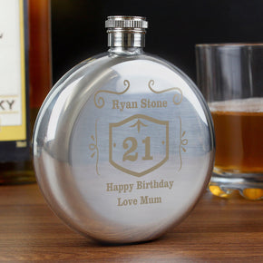 Personalised Classic Whisky Round Hip Flask