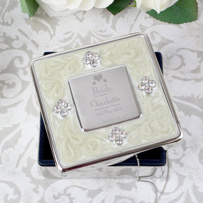 Personalised Decorative Wedding Bride Square Diamante Trinket Box