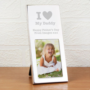 Personalised I Heart Small Silver 2x3 Photo Frame