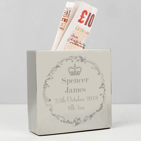 Personalised Royal Crown Square Money Box