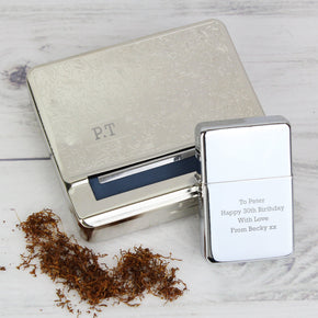 Personalised Tobacco Rolling Tin and Silver Lighter Set