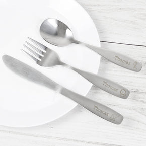 Personalised 3 Piece Hessian Friends Cutlery Set