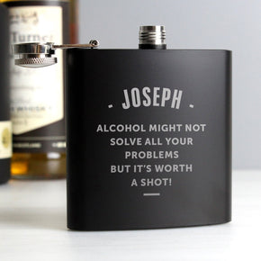 Personalised Any Message Black Hip Flask