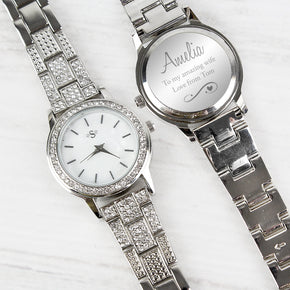 Personalised Swirls & Hearts Diamante Ladies Watch
