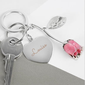 Personalised Silver Plated Name Pink Rose Keyring