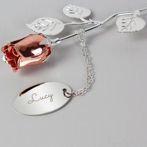 Personalised Name Silver Plated Rose Gold Rose Bud Ornament