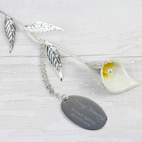 Personalised Silver Plated 'In Loving Memory' Calla Lily Flower Ornament