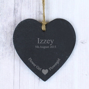 Personalised Flowergirl Slate Heart Decoration