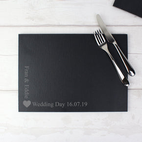 Personalised Heart Motif Slate Placemat