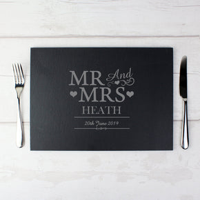 Personalised Mr & Mrs Slate Placemat