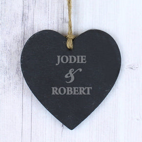 Personalised Couples Slate Heart Decoration